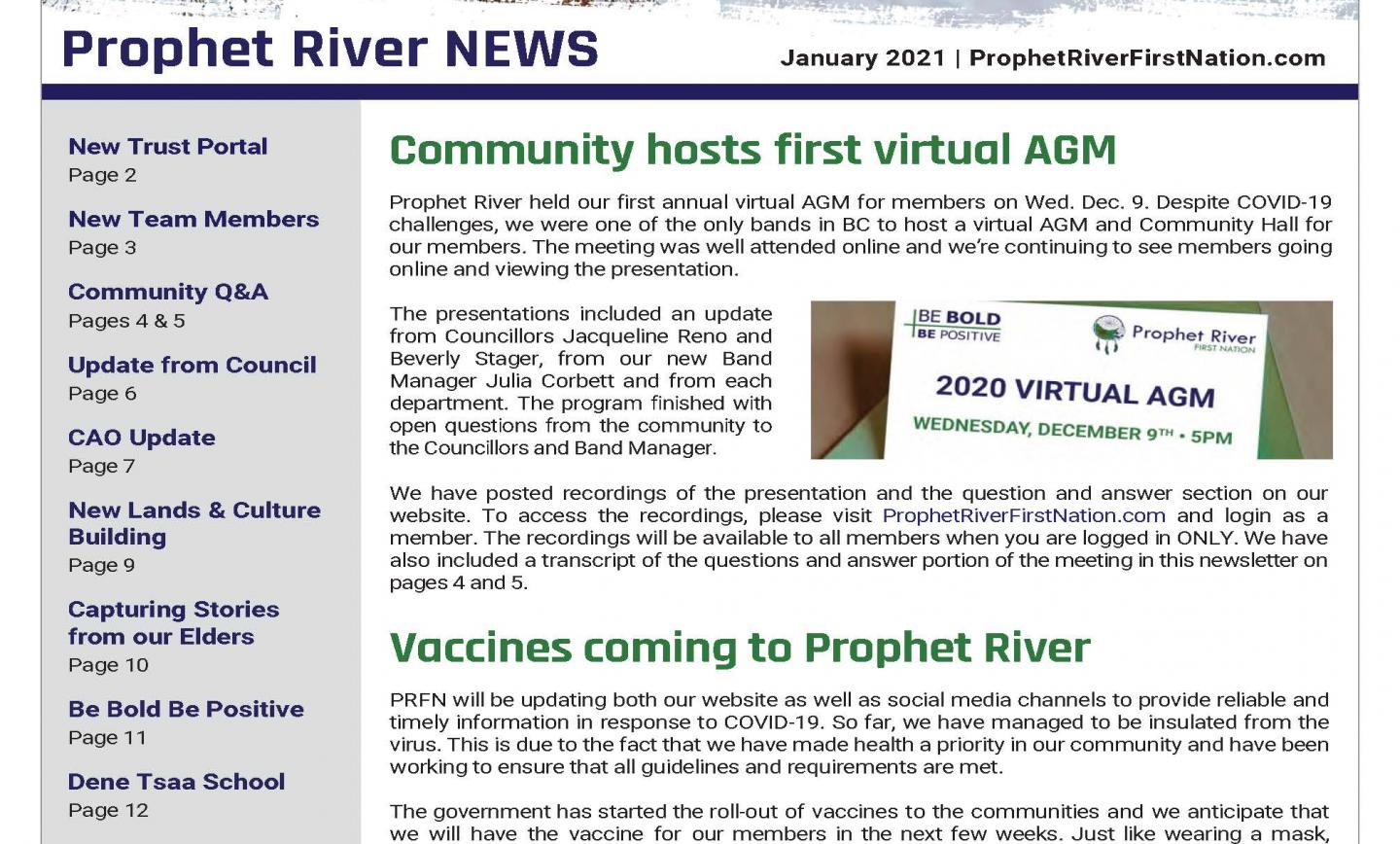 Prophet River News – January 2021